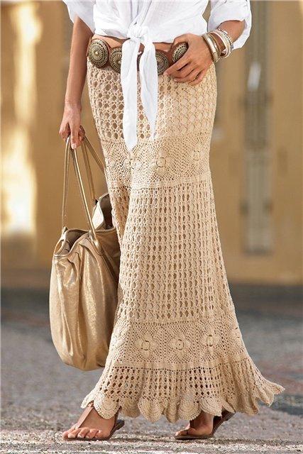 Вязание юбки в пол макси крючком