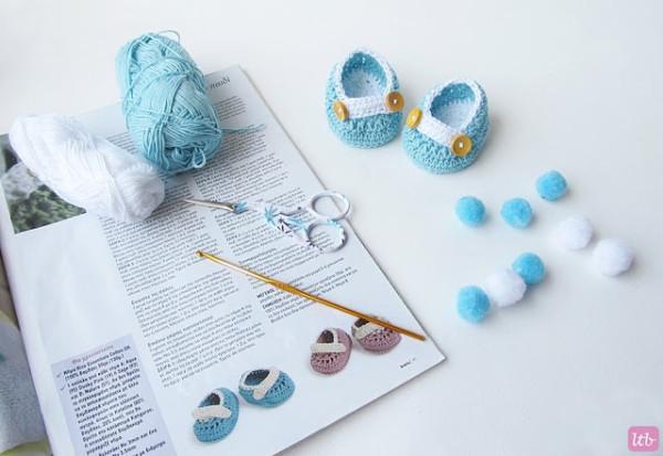 Пинетки для новорожденного крючком - материалы