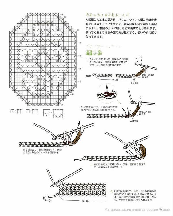 Филейная салфетка крючком - схема
