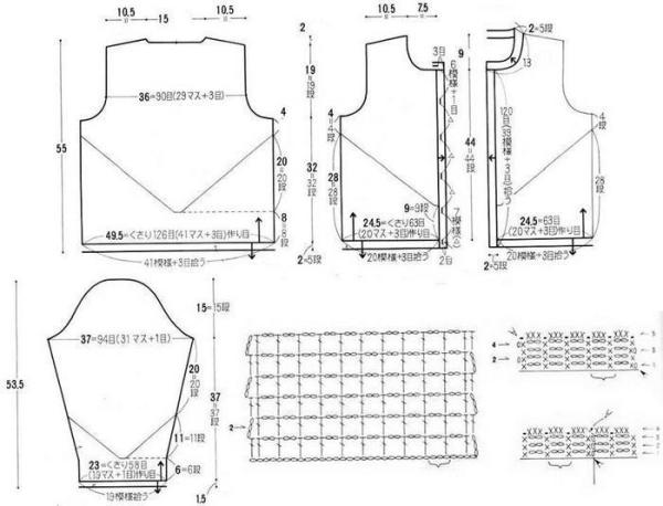 схема летней ажурной кофты крючком