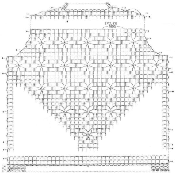 Летняя ажурная кофта крючком - схема