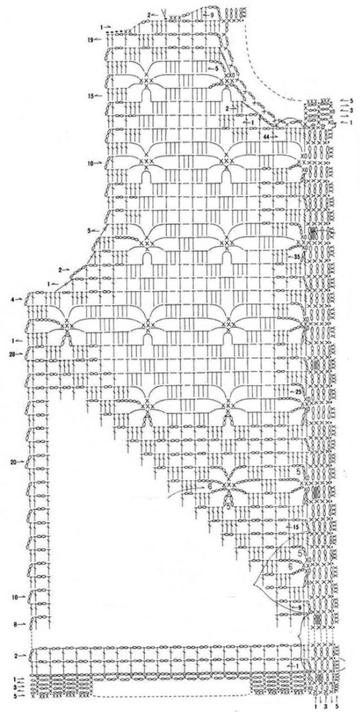 Летняя ажурная кофта крючком - схема2