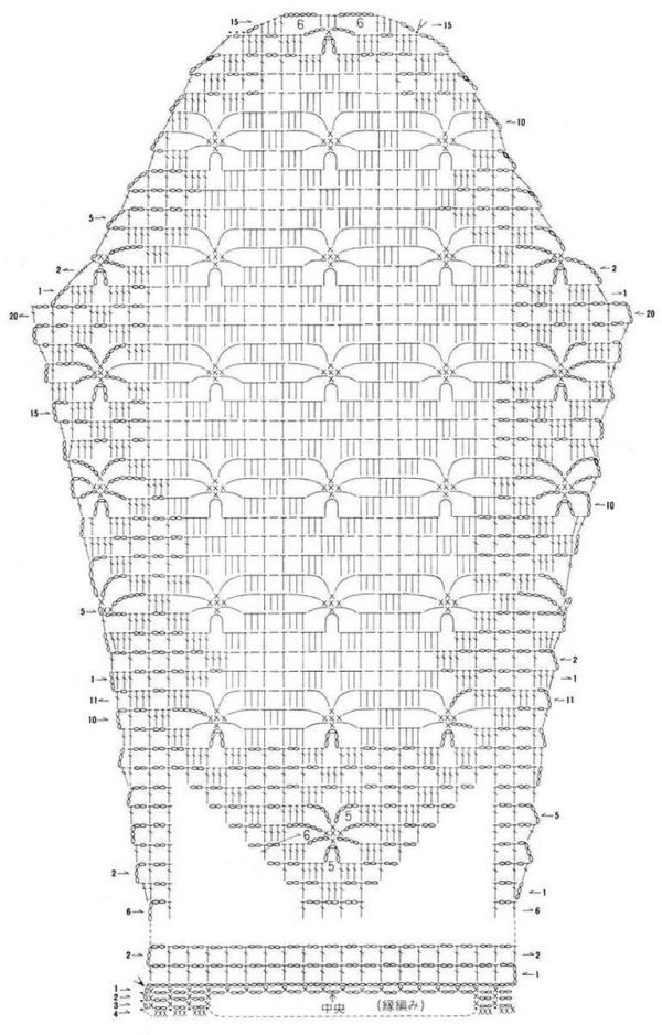 Летняя ажурная кофта крючком - схема3