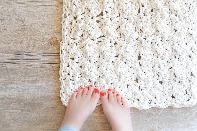 Вязание ковров из шнура спицами 83