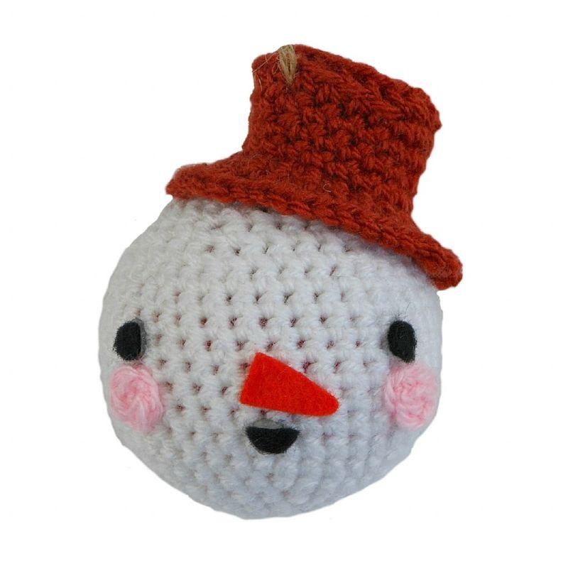 Новогодние игрушки крючком-снеговик