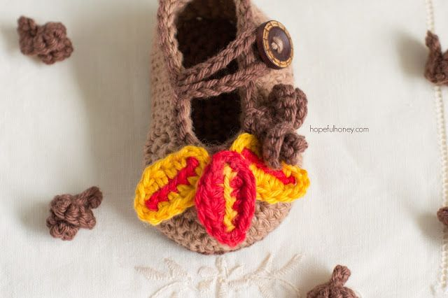Пинетки туфельки крючком-одна туфелька
