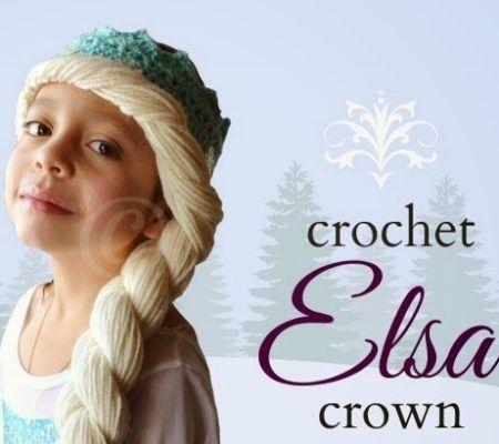 шапка парик крючком корона эльзы