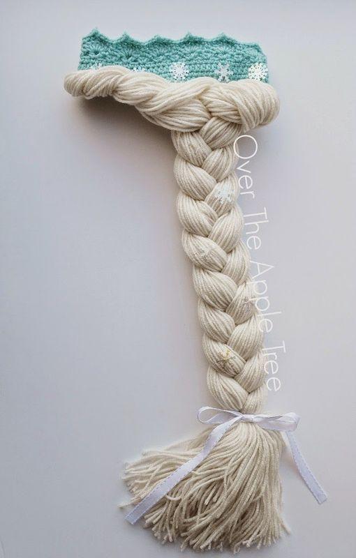 Шапка парик крючком «Корона Эльзы»
