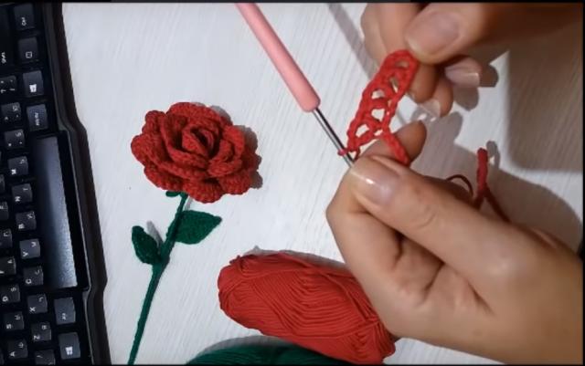Роза прямым кружевом 2